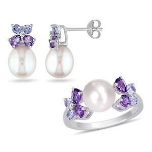 Amour Sterling Silver Freshwater Pearl Tanzanite, Amethyst & Diamond Jewelry Set