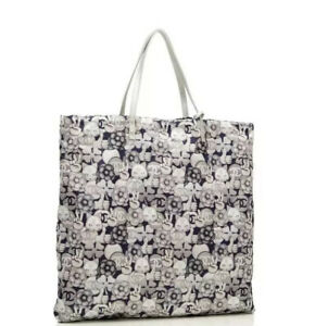 AUTHENTIC CHANEL Nylon Navy Silver Cat Emoticon Large Tote shopping BAG