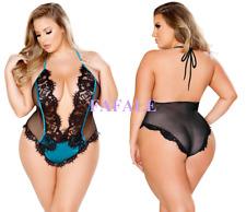 Plus Size Teddy Sexy Lingerie Women Strap Halter Lace Sheer Bodysuit Sleepwear
