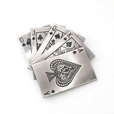 Silver Alloy Vegas Poker Spades Royal Flush Mens Belt Buckle NEW WITH DEFECTS