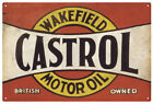 CASTROL WAKEFIELD MOTOR OIL RED VINTAGE  TIN SIGN   CASTROL TIN SIGN RED
