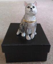 Treasured Trinket Box by Juliana, Grey Cat, in satin lined box, crystal detail