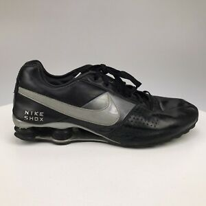 Mens 12 Nike Shox Deliver Black Silver Leather Sneakers 317547-004