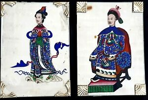 Pair Of Chinese Qing Dynasty Framed Courtier Paintings on Rice Pith Paper c 1880