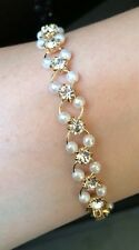 Dainty Wedding Formal Pearl Crystal Diamante Bracelet Gold Bridesmaid Girl Gift