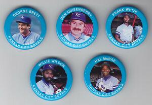 1984 Fun Foods Pins - Royals - Team Set - George Brett - 5 Pins - NrMt-Mt