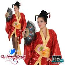 LADIES ORIENTAL GEISHA COSTUME Adult Japanese Oriental Kimono Fancy Dress Outfit