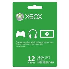 Xbox One/360 Live 12-Month Gold Prepaid Subscription Card Code Instant Delivery