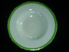 GRINDLEY White/Green/Gold Petal Edge Rimmed Soup Bowl 8 3/4 inch  ( 3 available)