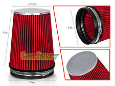 "RED 6 Inches 6"" Inlet 152.4mm Cold Air Intake Cone TRUCK FILTER Chev2"