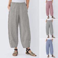ZANZEA 8-24 Women Elastic Waist Pull-On Pants Plus Size Stripe Wide Leg Trousers