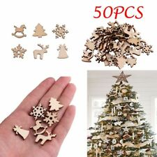 50Pcs Natural Wood Christmas Ornament Xmas Tree Decorat Reindeer Snowflakes