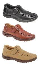 Sandali e scarpe marrone in pelle sintetica con velcro per il mare da uomo