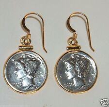 Antique Mercury Dime Earrings 90% Silver Coins 1/20th 14K Gold Bezels and Hooks