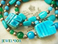 VINTAGE EGYPTIAN REVIVAL TURQUOISE CERAMIC SCARAB BEADS NECKLACE HIPPIE BOHO