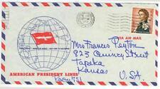 1965 Hong Kong China $2 solo American President Lines Air Mail cover to Kansas