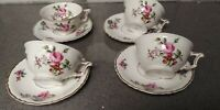 HAVILAND LIMOGES CHANTILLY CHINA 4 cups and 4 saucers EXCELLENT