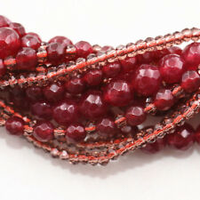 Exquisite Crystal & Scarf Red Garnet Gemstone Bead manual Necklace 10 rows 21776