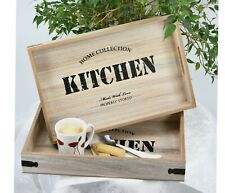 Home Kitchen Wooden Serving Lap Tray Vintage Storage With Handles - Set of 2