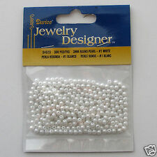 White Acrylic Pearl Beads 3mm Package 300 pieces Faux/Plastic