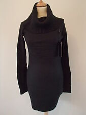 Robe d'hiver noire laine cachemire col large YL-183 neuf 38/40 ladydjou