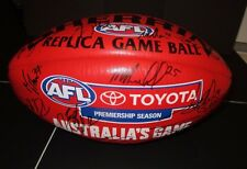 Melbourne FC team (2016) team signed official Sherrin Football Red  (AFL/Toyota)