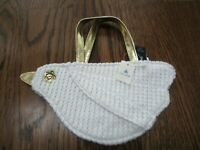 NWT BABY GAP GIRL'S WHITE BIRD WRISTLET PURSE GOLD HANDLE NEW EASTER
