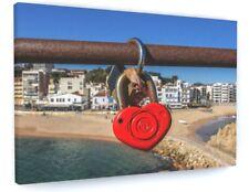 LOVE HEART PADLOCK SEA BEACH CANVAS PICTURE PRINT CHUNKY FRAME LARGE #A411