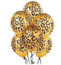 Leopard Spot Print Balloons x 6 Safari Zoo Jungle Farm Animal party decoration