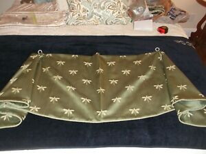 """ONE Curtain Valence Sage Green DRAGONFLY Pattern, 33"""" Wide, 20"""" Long"""