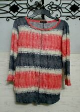 David Cline Knit Top Size M Multicolored Long Sleeved Scoop Neck