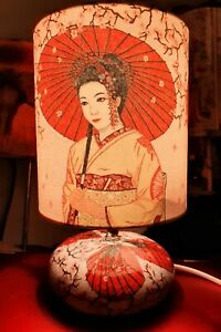 Japanese Geisha III Oriental Drawing Decoupage Table Lamp Design NightLight Gift