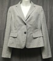Ann Taylor Blazer Jacket Womens 6 Blue Gray White Stripe Lined 2 Buttons Career