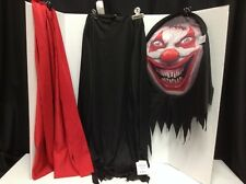 Adult Evil Clown Mask Pullover Robe Scarf Scary Demon Halloween Costume Large