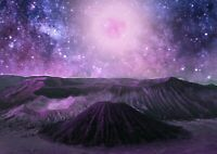 Space Volcano Poster Size A4 / A3 Pink Purple Alien Planet Poster Gift #13110