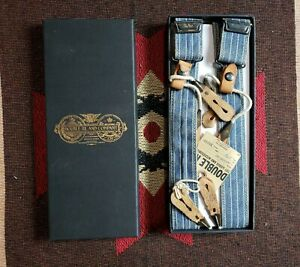 RRL Double RL Ralph Lauren Vintage Style Striped Leather Braces Suspenders