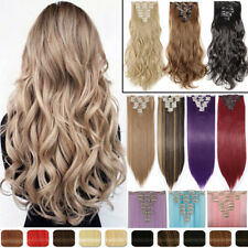 Clip In Hair Extensions Long Straight Full Head as human Hair Extentions Ombre