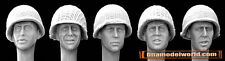 Hornet 1/35 5x Heads with US M1 Helmets with Netting (by many nations) #HUH04