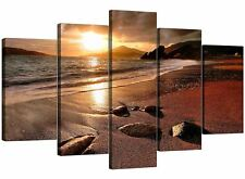 Five Piece Sunset Beach Canvas Art Pictures Living Dining Room 5131