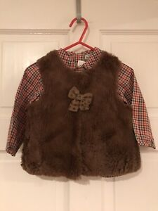 Baby Girl Mayoral Blouse & Fur Waistcoat Age 9/12 Months