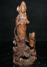 "9.2"" Old China Boxwood Wood Carved Kwan-Yin Guan Yin Tongzi Boy Dragon Statue"