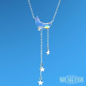 Star Moon Necklace 925 Sterling Silver Plated Crescent Crystal Chain Womens Gift