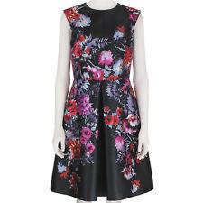 Giambattista Valli Slate Grey Floral Inverted Pleat Summer Dress IT42 UK10