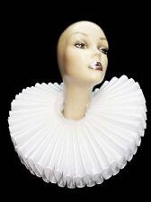 Ruffled Collar White Satin Huge Tall Wide Elizabethan Neck Ruff Victorian Queen
