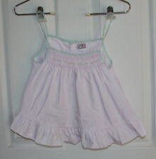 Petit Ami Dress White Trimmed in Mint Green & Yellow 3T Cotton/Polyester Blend