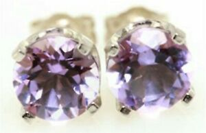 2.58ct Natural Purple Amethyst 14K White Solid Gold Earrings Stud Push Back