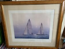 More details for tim thompson america's cup freedom signed framed print  88 cm x 76 cm painting