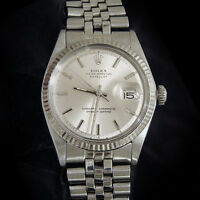 Rolex Datejust Men Stainless Steel 18K White Gold Jubilee Silver Dial Watch 1601