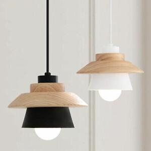 Modern Wood Pendant Light White Black Metal Bar Kitchen Ceiling Lamp Lighting