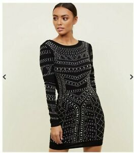 CAMEO ROSE LADIES BLACK STUDDED BLING BODYCON DRESS SIZE 8 UK